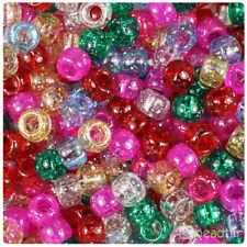 BeadTin Classic Mix Sparkle 9mm Barrel Pony Beads (500pcs)