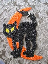 Vintage Melted Popcorn Halloween Black Cat with Moon