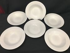 "Set of 6 ~ Apropos ""MILLENNIA""  White Porcelain Wide Rim Soup Bowls ~ 8 3/4"""