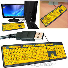 USB Wired Large Print UK Layout Gaming Keyboard High Contrast Keypad PC Laptop