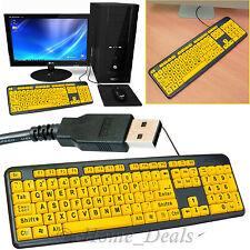 PC Laptop Letra Grande Teclado USB con Cable Reino Unido Layout Teclado numérico de alto contraste
