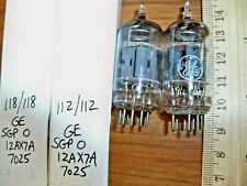 2 Strong Matched GE Short Gray Plate O Getter 12AX7A / 7025 Tubes