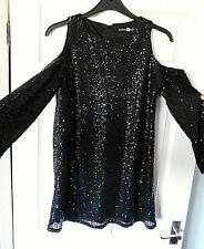 BOOHOO Black Sequin Cold Shoulder Long Sleeve Tunic Party Dress Size UK 12 EU 40