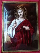 STUNNING QUALITY ANTIQUE FRENCH LIMOGES ENAMEL JESUS CHRIST SACRED HEART SIGNED