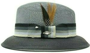 Mens Black/Grey Lowrider Fedora Vented Straw Hat (Whittier) With Brown Feather