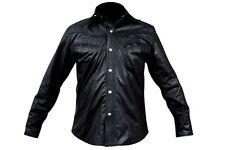 Nueva camisa para hombre Cuero Negro Manga Completo Nuevo Todos Los Tamaños