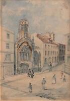 ST HELEN'S CHURCH YORK Victorian Watercolour Painting c1850