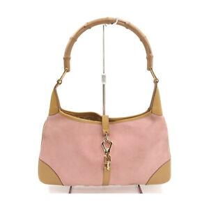 Gucci Shoulder Bag  Pinks Suede Leather 1422308