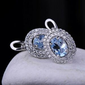 EARRINGS Silver  WITH BLUE TOPAZ and Cubic Zirconia 925 russian style