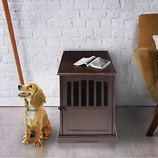 """Pet Crate w/ Wood Slats Provides a Cozy Spot for Your Pet to Relax Espresso 24""""H"""