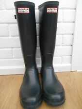 MENS HUNTER MADE IN SCOTLAND BLACK HIGH WELLINGTON BOOTS SIZE UK 10