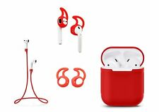 Zotech Accessory Pack for AirPods (1Cover, 1neck Strap and 2Pair Earhooks) Red