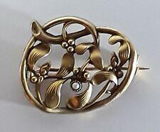 Ancienne belle broche plaqué or Fix décor au gui perle art nouveau 1900 1920