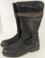 $100 Highland Creek Womens Water Repellent Mid Calf Leather Boots, Black, US 9