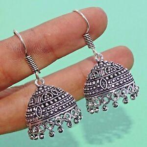 "925 Silver Plated Oxidized Dangle Jhumka  Earrings 1.75 "" Inch Long NAT40"
