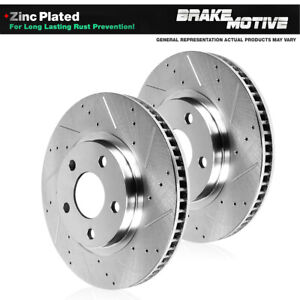 Front Drilled & Slotted Brake Rotors For Mercedes Benz C300 C350 E350