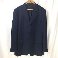 Balenciaga Pour Homme Blue Black Herringbone 3 Btn Wool Blazer Jacket US 46/48R