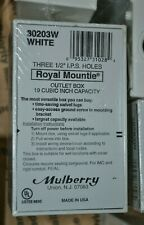 """10 MULBERRY ROYAL MOUNTIE 30203 THREE 1/2"""" I.P.S HOLES OUTLET BOX 19 CUBIC INCH"""