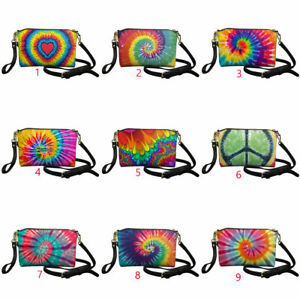 Tie Dye Crossbody Bags Leather Handag with Strap for Women Multi-purpose Purse