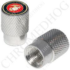 2 Silver Billet Aluminum - Tire Air Valve Stem Caps for Motorcycle - US Marine O