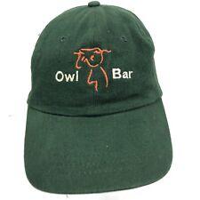 OWL BAR Green 100% Cotton Embroidered Baseball Hat Strapback
