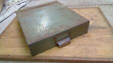 Vintage Industrial Metal File Small Parts Drill Bits Storage Bin Box Cabinet