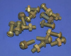 """15 Vintage 1/4 x 3/4"""" Slotted Round Head Solid Brass Machine Screws Bolts & Nuts"""