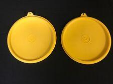 """Lot of 2 Vintage Tupperware Lids #227-27 Harvest Gold Round 6"""" Cereal Wonderlier"""