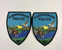Lot of 2 Kemmerer Wyoming Police Shoulder Patch Used With Moose And Eagle