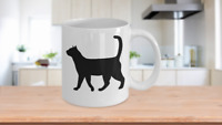 Black Cat White Coffee Mug Funny Gift for Cat Mom Dad Lover Owner Resuce