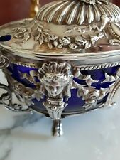 French Openwork Sterling Sugar Bowl Antique 950 silver Napoleon III!  Super Rare