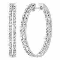 14k White Gold 2ctw Diamond Double Inside Out Oblong Hoop Earrings