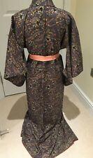 Vintage Japanese Dusky Purple Crepe 'Stylised Flowers' Kimono/Robe/Dress 12-14
