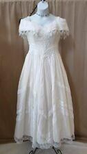 Romantic Vtg 80s Jessica Mcclintock Bridal White Off the Shoulder Formal Dress