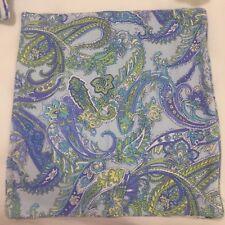 Ralph Lauren 18 x 19� Pillow Cover Paisley Turquoise, Periwinkle on Light Aqua