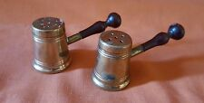 Vintage Copper Salt And Pepper Shakers with Wooden Handle