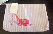 ** NEW ~ Christopher Vine ~ Candy Strip Poppy Shoe Envelope Cosmetic Bag **