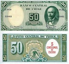 Chile 5 Cents O/P on 50 Pesos Banknote World Paper Money Unc Currency Pick p126b