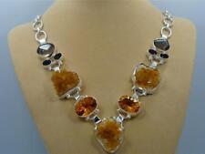 Enorme! Multi Piedras & .925 Collar de Plata Joyería; H722