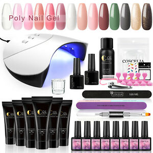 Poly Nail Gel Kit with LED Nail Lamp Color Nude Glitter Acrylic Extension Gel UK