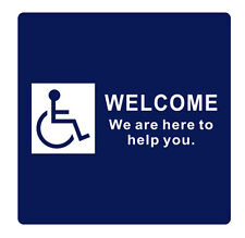 "Welcome We are here to help you Sign 6"" x 6"" - Blue/White"