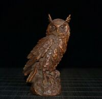 Collect Chinese fengshui Decor Exquisite Natural Boxwood Handmade owl Statue