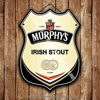 Murphy's Irish Stout Beer Advertising Bar Pub Metal Pump Badge Shield Steel Sign