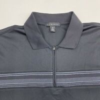 Via Europa Polo Shirt Men's Size 2XL XXL Short Sleeve Gray 1/4 Zip Up Casual