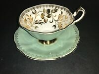 BONE CHINA CUP & SAUCER BY QUEEN ANNE HEAVY GOLD FLOWERS TEAL