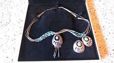 Navajo Sterling Silver Turquoise Bear Claw Necklace W/Earings