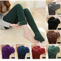Womens Ladies Full Length Winter Thick Warm Fleece Lined Stretchy Leggings Pants