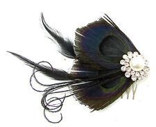 Noir Argent Plume De Paon Diamant Peigne À Cheveux Fascinateur 1920s Charleston