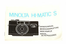 Minolta HI-MATIC S Bedienungsanleitung / Owner's Manual