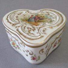 Antique DRESDEN HP Porcelain HEART Shaped Box FIGURES Flowers GILT Trim * LAMM